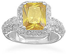 Yellow Rectangle CZ and Crystal Edge Ring 925 Sterling Silver