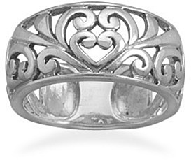 Oxidized Cut Out Scroll Heart Design Ring 925 Sterling Silver