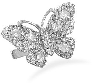Rhodium Plated Pave CZ Butterfly Ring 925 Sterling Silver