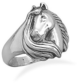 Horse With Mane Ring 925 Sterling Silver