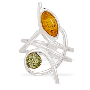 Cognac and Green Amber Ring 925 Sterling Silver - DISCONTINUED