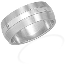 Stainless Steel Mens Ring with Brushed Edges - DISCONTINUED