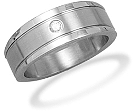 Stainless Steel and CZ Mens Ring