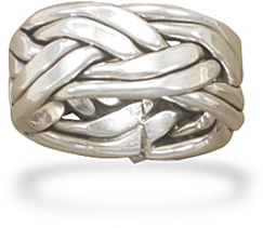 Oxidized Double Row Braided Ring in Women's Sizes 925 Sterling Silver