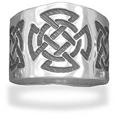 Oxidized Celtic Design Cigar Band 925 Sterling Silver