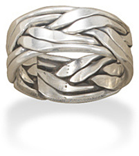 Large Oxidized Double Row Braided Ring in Men's Sizes 925 Sterling Silver