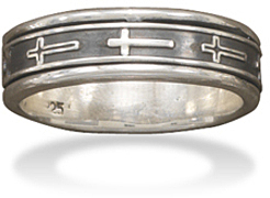 Oxidized Cross Spin Ring 925 Sterling Silver