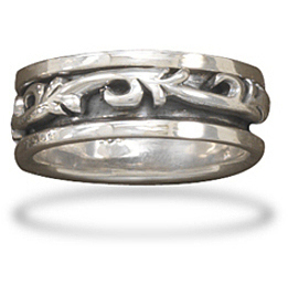 Oxidized Spin Ring with Scroll Design 925 Sterling Silver