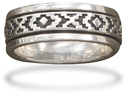 Oxidized Spin Ring with Santa Fe Design 925 Sterling Silver