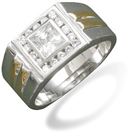 Sterling Silver and 14K Gold Plate CZ Ring