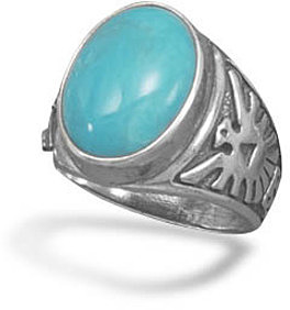 Turquoise Ring with Thunderbird Design on the Band 925 Sterling Silver