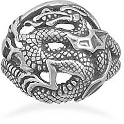 Oxidized Dragon Ring 925 Sterling Silver