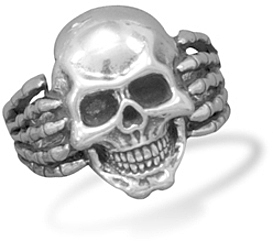 Oxidized Skull Ring 925 Sterling Silver
