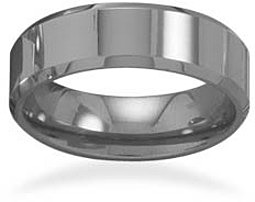 "Tungsten Carbide 6mm (1/4"") Men's Ring with Beveled Edge"