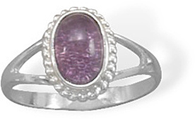 Oval Amethyst Ring with Rope Edge 925 Sterling Silver
