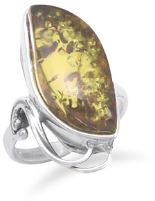 Green Amber Ring with Cut Out Design 925 Sterling Silver - DISCONTINUED