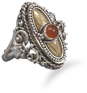 Sterling Silver and 14 Karat Gold Plate Carnelian Ring