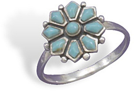 Turquoise Flower Ring 925 Sterling Silver