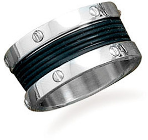 Stainless steel ring with rubber center design