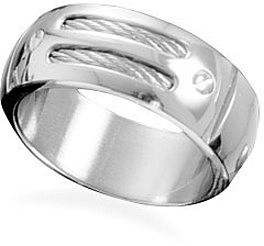 Men's double row stainless steel and cable ring
