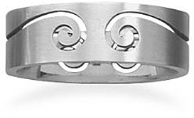 Stainless steel ring with cut out design