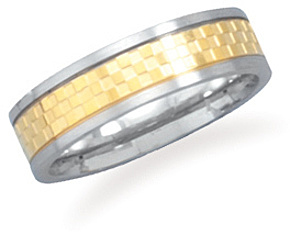 Stainless steel ring with 14 karat gold plated checker pattern