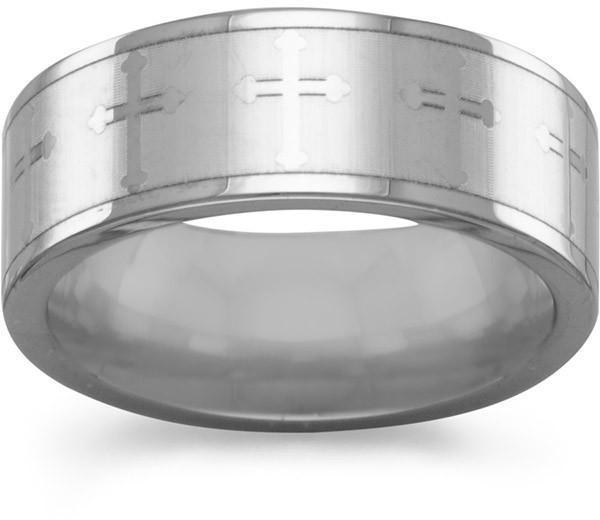 "7.5mm (1/3"") Tungsten Carbide Ring with Cross Design"