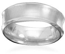 Brushed titanium concave ring