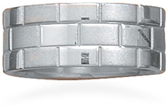 Three row stainless steel ring with brick design - DISCONTINUED