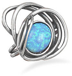 Oxidized Open Design Ring with Synthetic Opal Stone 925 Sterling Silver