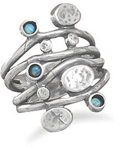 Oxidized 4 Row Band Ring with 3 Synthetic Opal Stones 925 Sterling Silver