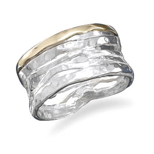 Sterling Silver and 14 Karat Cut Out Design Ring - DISCONTINUED