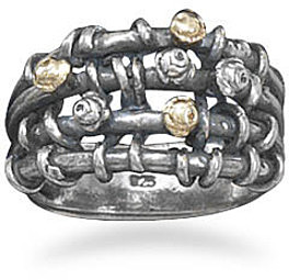 Oxidized Open Band Ring with 14 Karat and Sterling Silver Beads