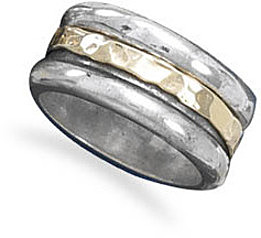 14 Karat Gold and Sterling Silver Spin Ring