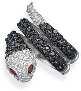 Rhodium Plated CZ Snake Ring 925 Sterling Silver