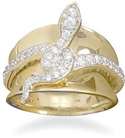 14 Karat Gold Plated and Sterling Silver CZ Snake Ring