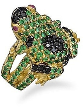 Sterling Silver and 14 Karat Gold Plated CZ Frog Ring