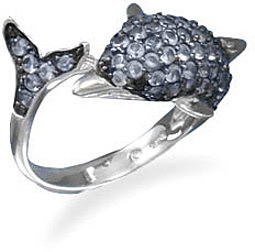 Black Rhodium Plated CZ Dolphin Ring 925 Sterling Silver