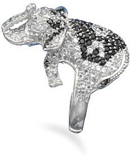 Rhodium Plated CZ Elephant Ring 925 Sterling Silver