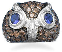 Rhodium Plated CZ Owl Face Ring 925 Sterling Silver