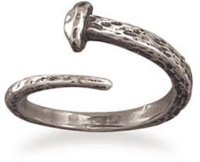 Small Oxidized Adjustable Nail Ring 925 Sterling Silver