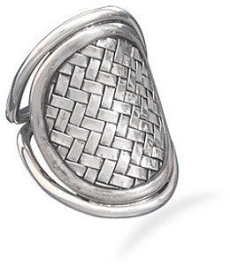 Oval Weave Design Ring 925 Sterling Silver