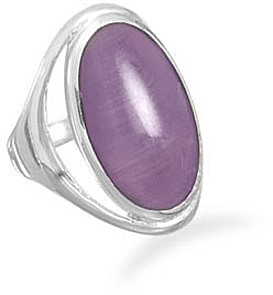 Purple Cat's Eye Ring 925 Sterling Silver