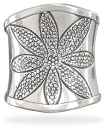 Oxidized Flower Design Ring 925 Sterling Silver