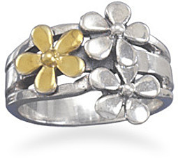 Two Tone Flower Ring 925 Sterling Silver