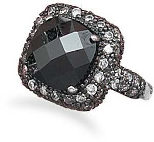 Black Rhodium Plated CZ Ring 925 Sterling Silver
