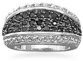 Black and Clear CZ Ring 925 Sterling Silver
