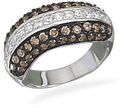 Rhodium Plated Clear and Chocolate CZ Ring 925 Sterling Silver - DISCONTINUED