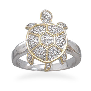 Two Tone with CZ Turtle Ring 925 Sterling Silver- DISCONTINUED