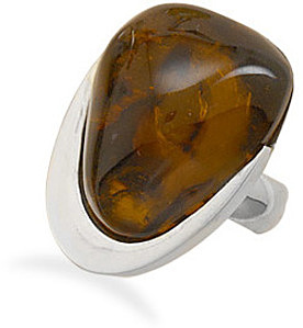 Freeform Baltic Amber Chunk Ring 925 Sterling Silver